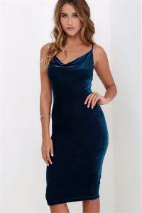 elegant midi dresses blue